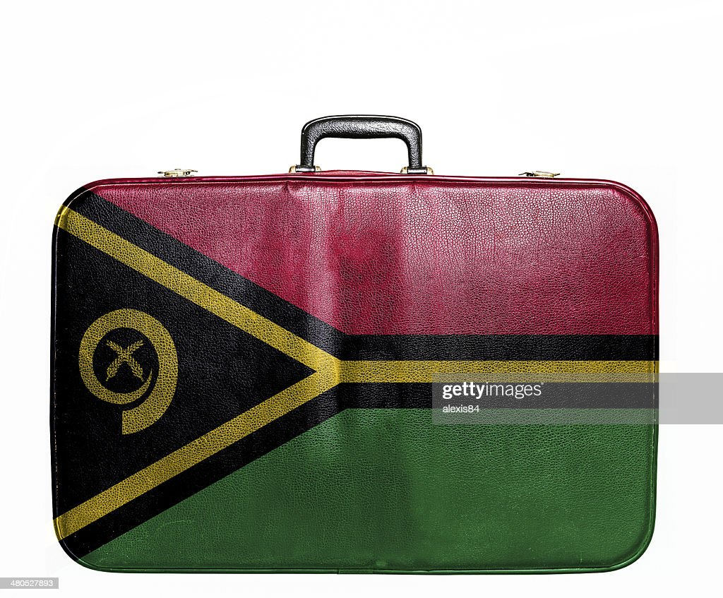 Vintage travel bag with flag of Vanuatu : Bildbanksbilder
