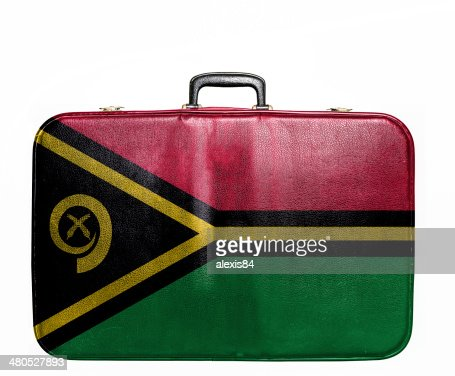 Vintage travel bag with flag of Vanuatu : Stock Photo