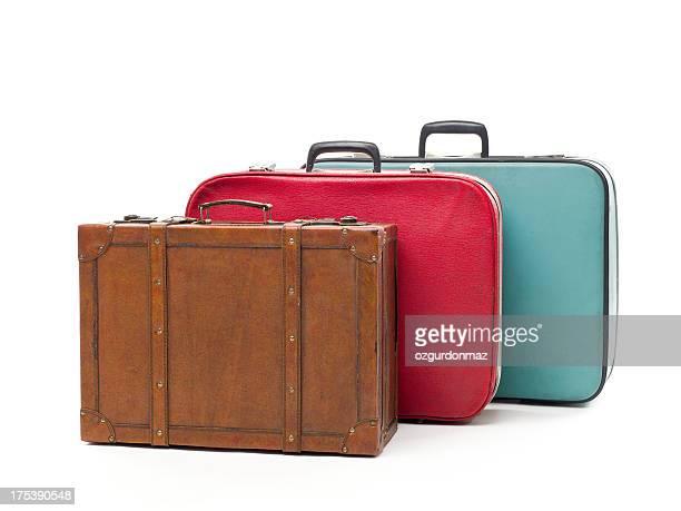Vintage travel cases on white