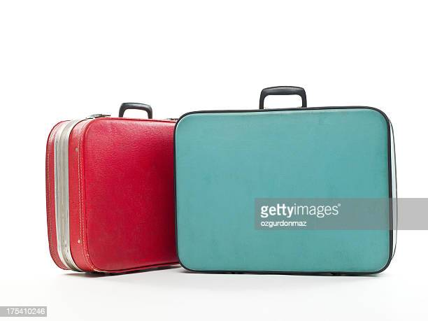 Vintage travel cases on white