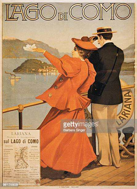 Vintage travel poster of couple looking out from ship