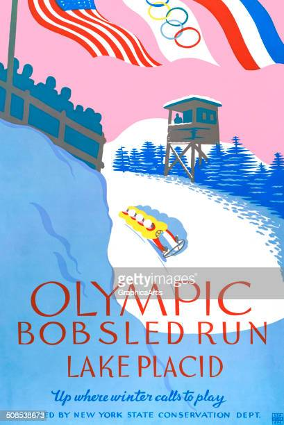 Vintage travel poster of the Olympic bobsled run in Lake Placid New York 'Up where winter calls to play' 19361938 Lithograph