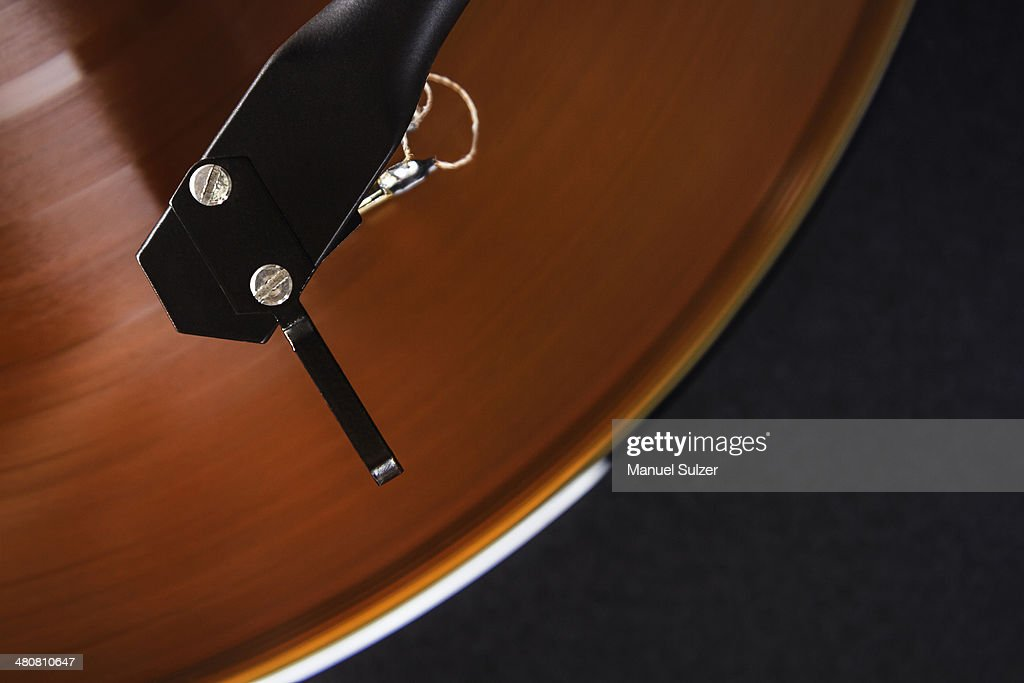 Vintage turntable, close up : Stock Photo