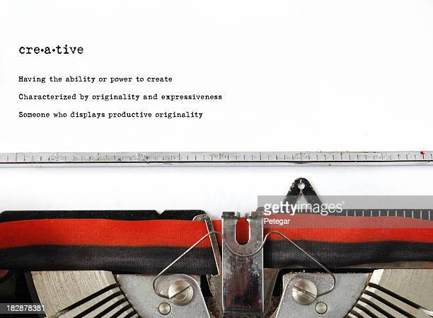 Vintage type writer typed word creative and definition