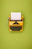 Vertical header image with old typewriter and copy space