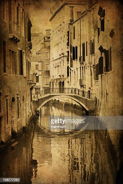 Vintage Venice - aged photo of a Venetian canal