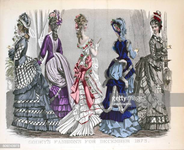 Vintage Victorian fashion illustration with five English women in fashionable dresses handcolored engraving December 1875
