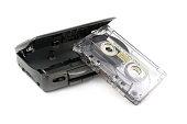'80  vintage audiotape walkman isolated on white background