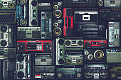 Vintage wall of radio boombox of the 80s, retro objects