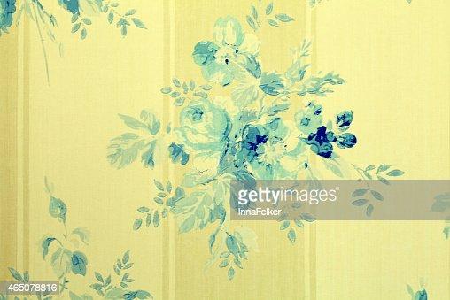 Papier Peint Vintage Avec Fleurs Bleues Motif Fleuri Photo Thinkstock