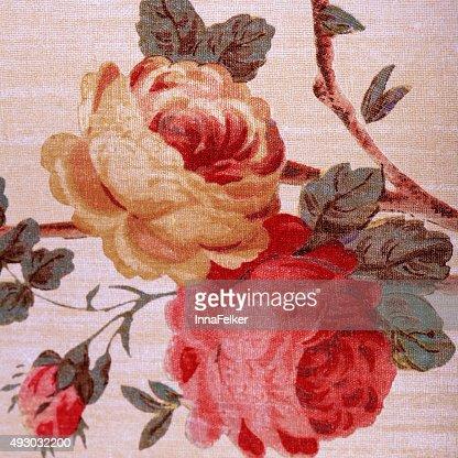 Papier Peint Vintage Avec Rouge Rose Fleuri Motif Victorien Photo