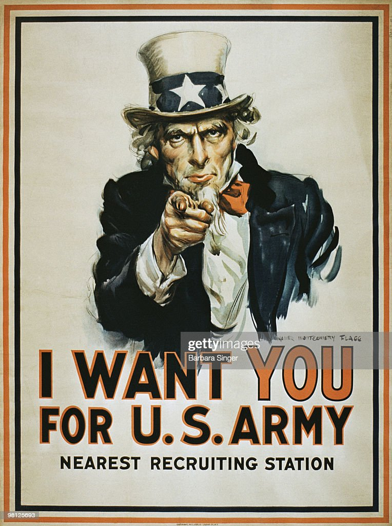 Vintage war poster of Uncle Sam pointing