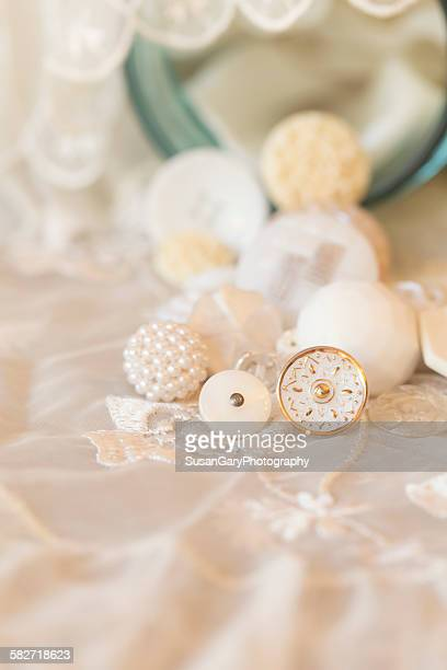 Vintage white button collection