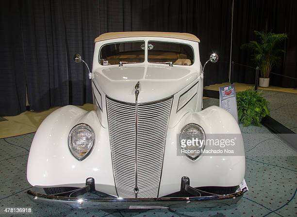 CENTRE TORONTO ONTARIO CANADA Vintage white car on the stand in Canada International Auto Show The Canadian International AutoShow CIAS for short is...