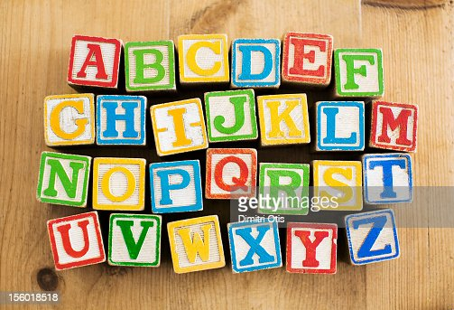 Vintage wooden letters blocks, alphebetical order