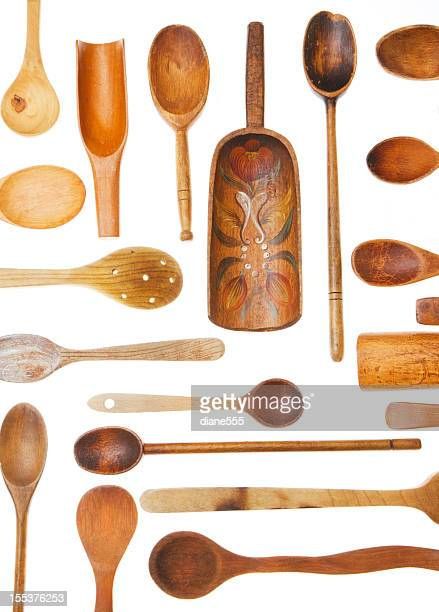 Vintage Wooden Spoons On White