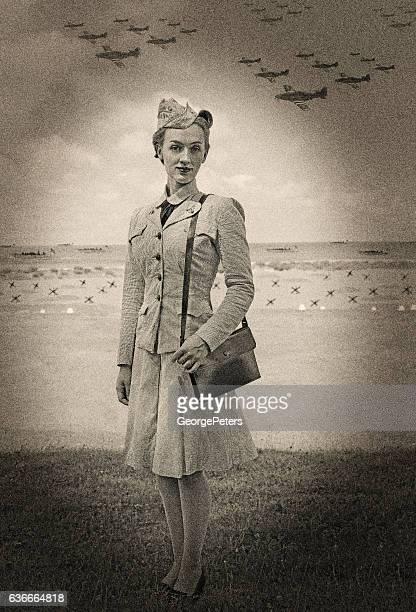 Vintage World War 2 Female Navy Officer On Normandy Beach