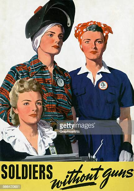 Vintage World War II poster 'Soldiers Without Guns' of three women workers an office worker a welder and a factory worker by Adolph Treidler...