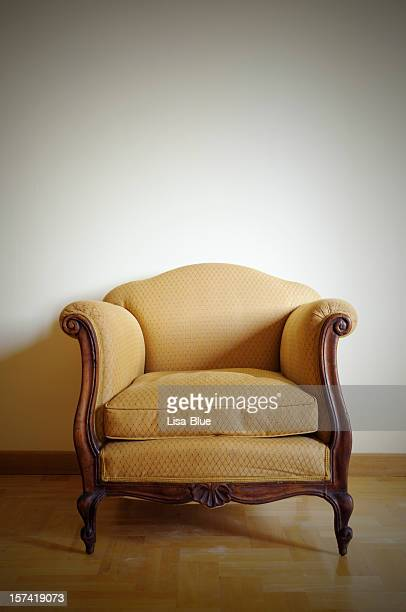 Vintage Yellow Armchair.Copy Space