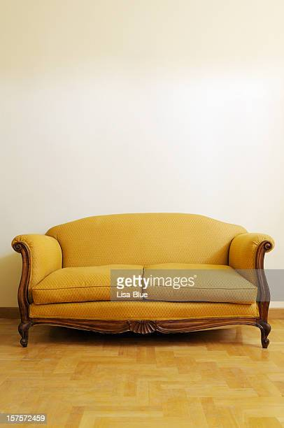 Vintage Yellow Sofa. Copy Space