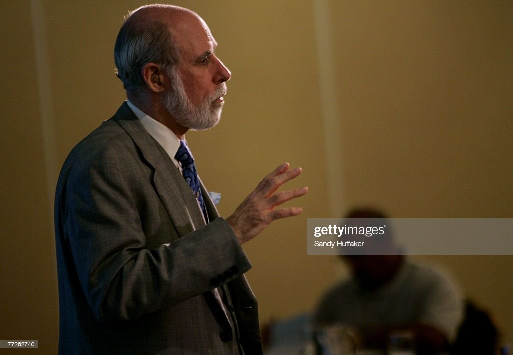 <a gi-track='captionPersonalityLinkClicked' href=/galleries/search?phrase=Vinton+Cerf&family=editorial&specificpeople=878568 ng-click='$event.stopPropagation()'>Vinton Cerf</a>, co founder of the internet, speaks at the Webby Connect Summit on October 5, 2007 in Dana Point, California.