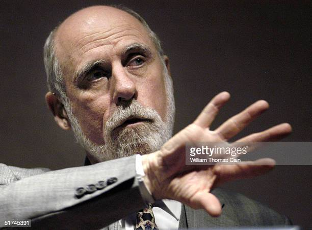 Vinton Cerf whose pioneering work in computers has led him to be called a 'Father of the Internet' speaks to students at Temple University November...