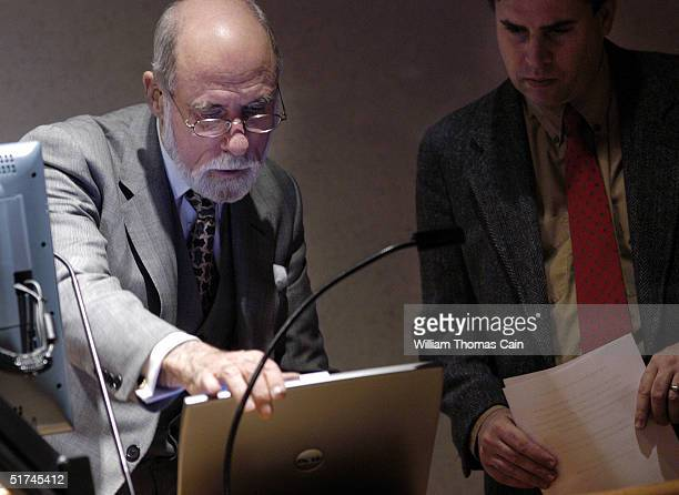 Vinton Cerf whose pioneering work in computers has led him to be called a 'Father of the Internet' sets up before speaking to students at Temple...