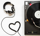 Professional Turntable, Vinyl Record Playing, Headphones with cord Shaped of Heart.