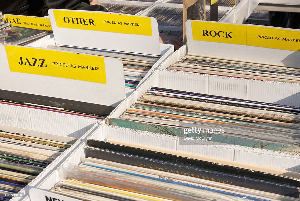 Vinyl record albums for sale : Stock Photo