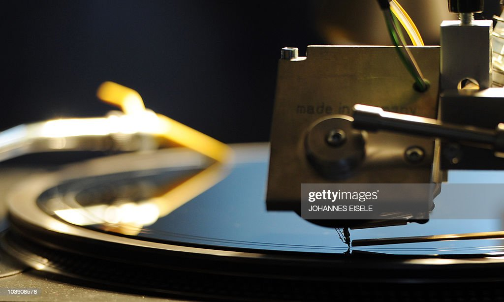 A vinyl record player is pictured at the Popkomm music trade fair on September, 8 2010 at former Tempelhof airport in Berlin. The international Music Business Market fair takes place from September 8 to 10, 2010.