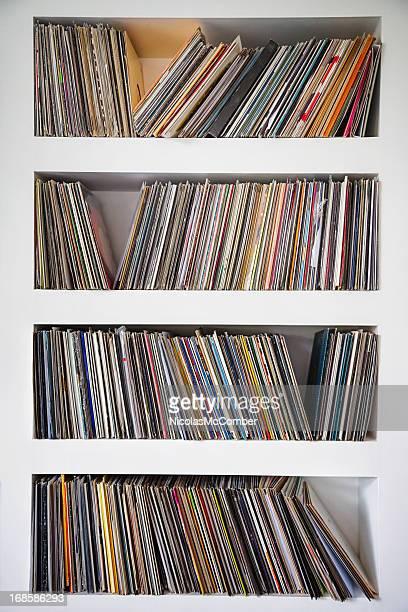 レコードコレクションの壁一面の棚を