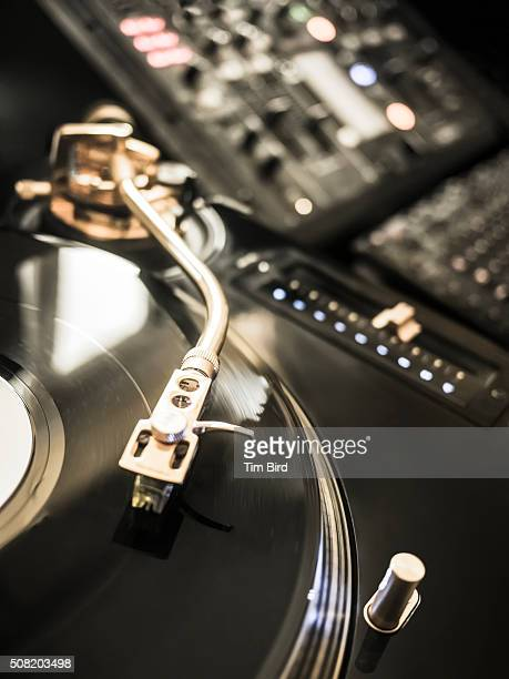 Vinyl spinning on dj decks