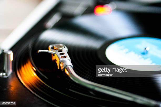Vinyl spins on DJ turntable