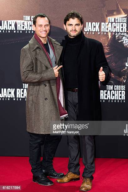 Vinzenz Kiefer and Lenn Kudrjawizki attend the 'Jack Reacher Never Go Back' Berlin Premiere at CineStar Sony Center on October 21 2016 in Berlin...