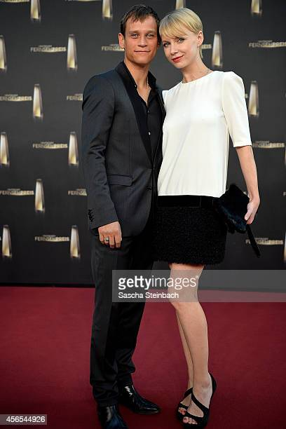 Vinzenz Kiefer and Masha Tokareva arrive at the 'Deutscher Fernsehpreis 2014' at Coloneum on October 2 2014 in Cologne Germany