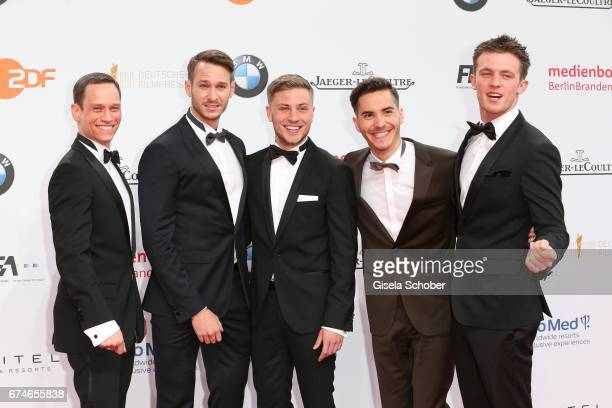 Vinzenz Kiefer Vladimir Burlakov Jannik Schuemann Francois Goeske and Jannis Niewoehner during the Lola German Film Award red carpet arrivals at...