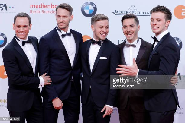Vinzenz Kiefer Vladimir Burlakov Jannik Schuemann Francois Goeske and Jannis Niewoehner attend the Lola German Film Award red carpet at Messe Berlin...