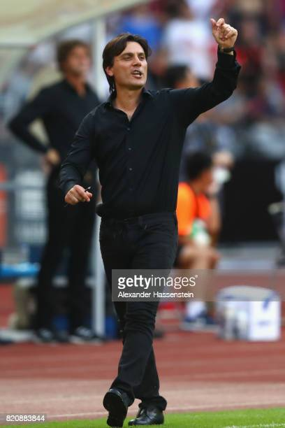 Vinzenzo Montella head coach of Milan reacts during the International Champions Cup Shenzen 2017 match between Bayern Muenchen and AC Milan at on...