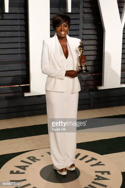 Viola Davis attends the 2017 Vanity Fair Oscar Party at Wallis Annenberg Center for the Performing Arts on February 26 2017 in Beverly Hills...