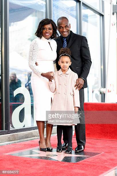 Viola Davis Julius Tennon and Genesis Tennon attend a ceremony honoing Viola Davis with a star on the Hollywood Walk of Fame on January 5 2017 in...