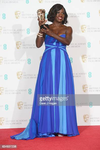 Viola Davis poses with her award for Supporting Actress in the film 'Fences' in the winners room at the 70th EE British Academy Film Awards at Royal...