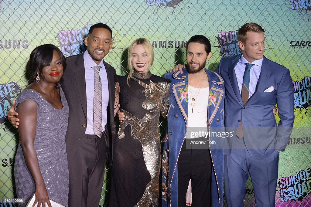 Viola Davis, Will Smith, Margot Robbie and Jared Leto attend the 'Suicide Squad' World Premiere at The Beacon Theatre on August 1, 2016 in New York City.
