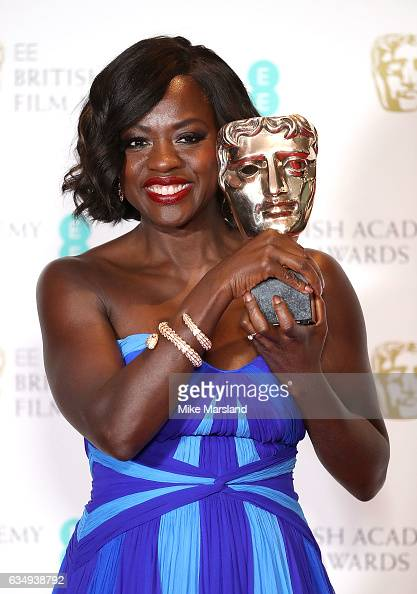 Viola Davis winner of the Best Supporting Actress award for 'Fences' poses in the winners room at the 70th EE British Academy Film Awards at Royal...