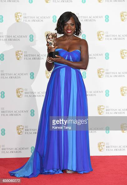 Viola Davis winner of the Best Supporting Actress award for 'Fences' poses in the winners room at the 70th EE British Academy Film Awards at the...