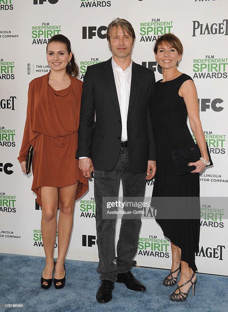 Viola Mikkelsen, actor Mads Mikkelsen and actress Hanne Jacobsen arrive at the 2014 Film Independent Spirit Awards on March 1, 2014 in Santa Monica, California.