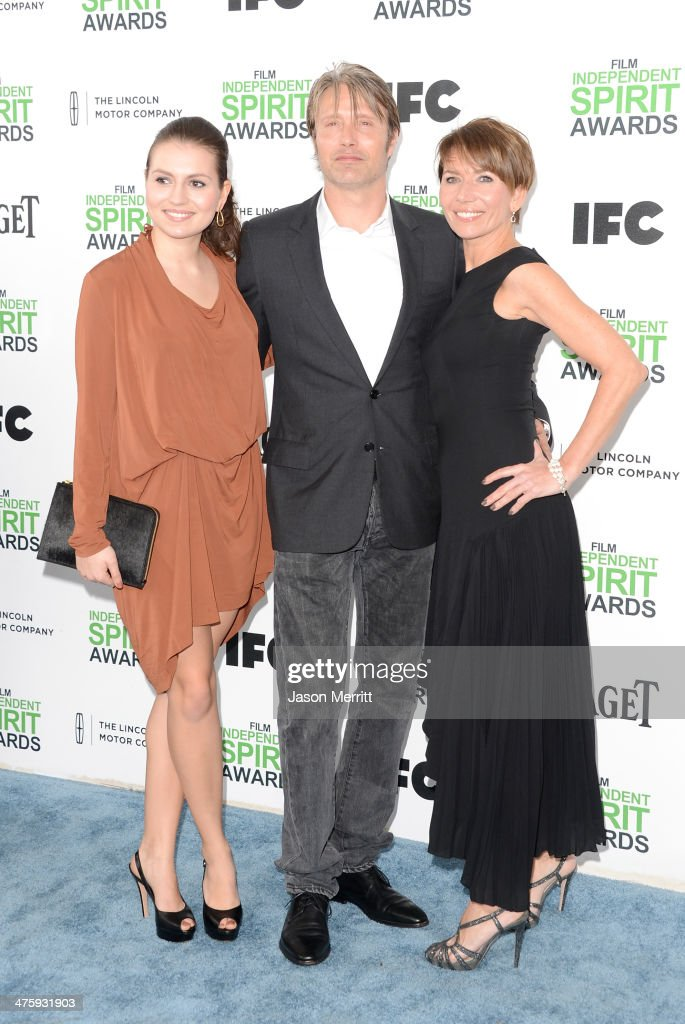 Viola Mikkelsen, actor Mads Mikkelsen and Hanne Jacobsen attend the 2014 Film Independent Spirit Awards at Santa Monica Beach on March 1, 2014 in Santa Monica, California.