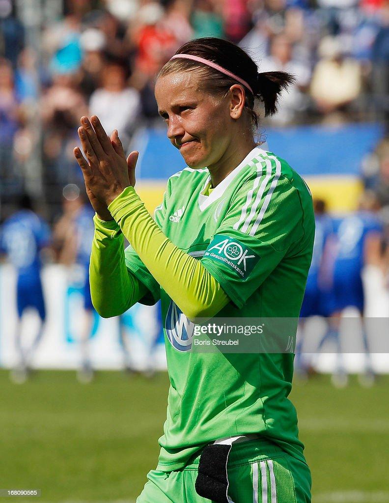 Viola Odebrecht of Wolfsburg applauds after the Women's Bundesliga match between 1. FFC Turbine Potsdam and VfL Wolfsburg on May 5, 2013 in Potsdam, Germany.