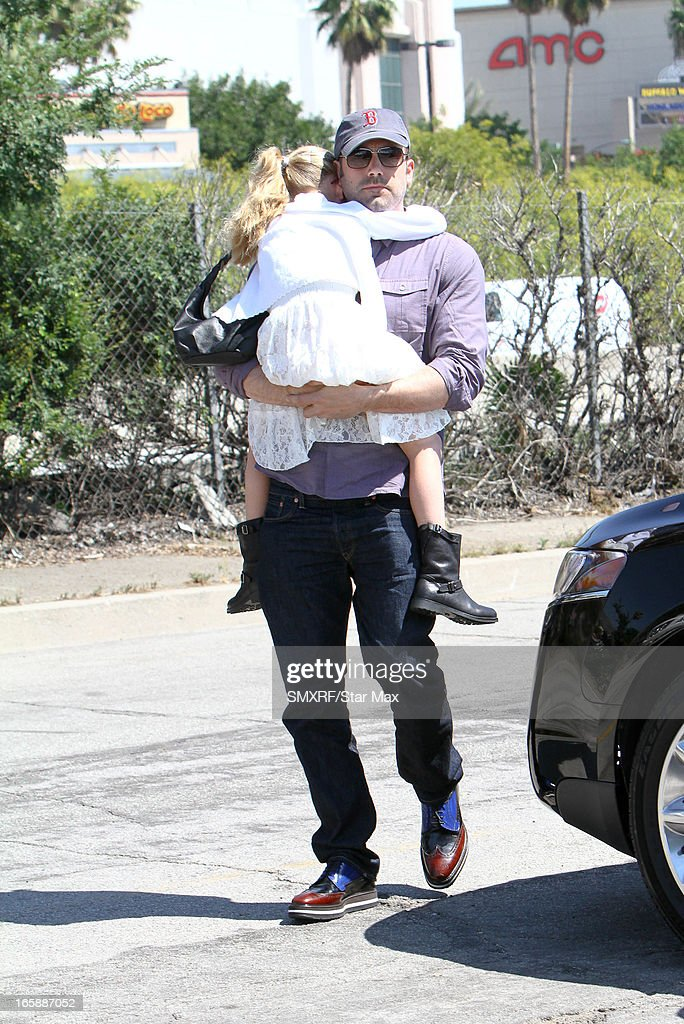 Violet Anne Affleck and <a gi-track='captionPersonalityLinkClicked' href=/galleries/search?phrase=Ben+Affleck&family=editorial&specificpeople=201856 ng-click='$event.stopPropagation()'>Ben Affleck</a> as seen on April 6, 2013 in Los Angeles, California.