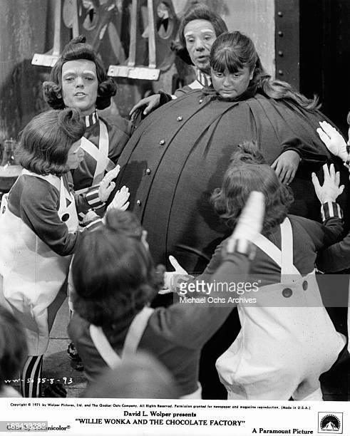 Denise Nickerson blows up like a blueberry in a scene from the film 'Willy Wonka the Chocolate Factory' 1971
