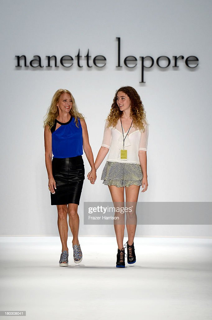 Violet Lepore and designer Nanette Lepore walk the runway at the Nanette Lepore fashion show with TRESemme during Mercedes-Benz Fashion Week Spring 2014 at The Stage at Lincoln Center on September 11, 2013 in New York City.